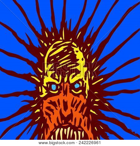 Screaming Mask Of A Monster With Glowing Eyes. The Horror Genre. Scary Halloween Character. Vector I