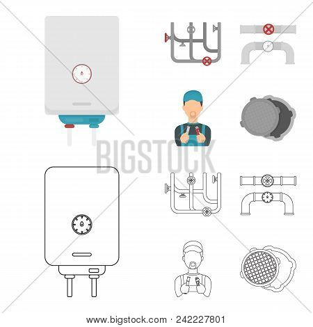 Boiler, Plumber, Ventils And Pipes.plumbing Set Collection Icons In Cartoon, Outline Style Vector Sy