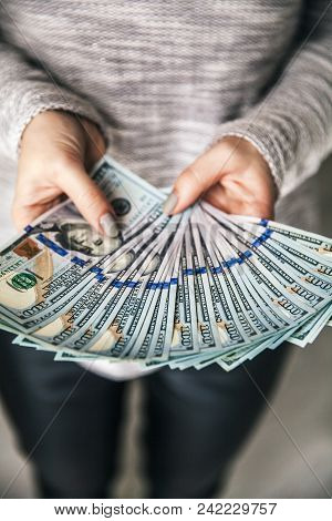 A Lot Of Money In Female Hands. Business. Dollars And Prosperity. A