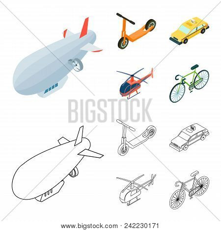 A Dirigible, A Children Scooter, A Taxi, A Helicopter.transport Set Collection Icons In Cartoon, Out