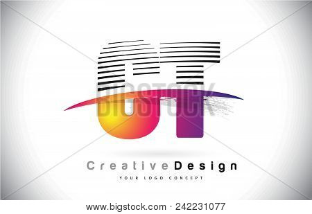 Ct C T Letter Logo Design With Creative Lines And Swosh In Purple Brush Color Vector Illustration.