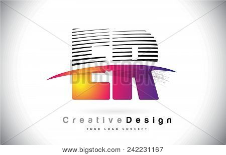 Er E R Letter Logo Design With Creative Lines And Swosh In Purple Brush Color Vector Illustration.