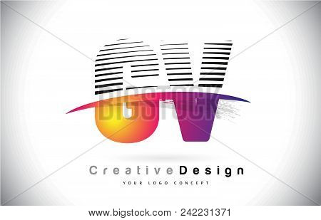Gv G V Letter Logo Design With Creative Lines And Swosh In Purple Brush Color Vector Illustration.