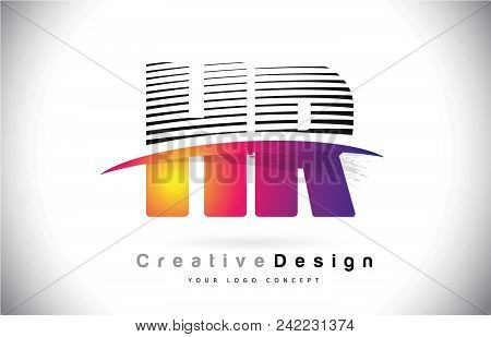 Hr H R Letter Logo Design With Creative Lines And Swosh In Purple Brush Color Vector Illustration.