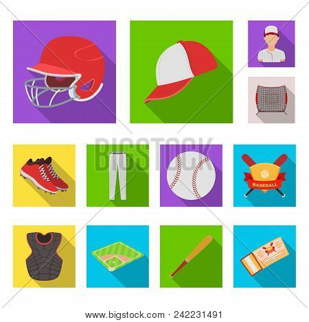 Baseball And Attributes Flat Icons In Set Collection For Design.baseball Player And Equipment Vector