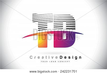 Td T D Letter Logo Design With Creative Lines And Swosh In Purple Brush Color Vector Illustration.