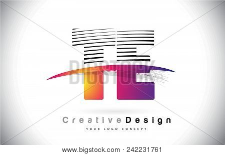 Te T E Letter Logo Design With Creative Lines And Swosh In Purple Brush Color Vector Illustration.
