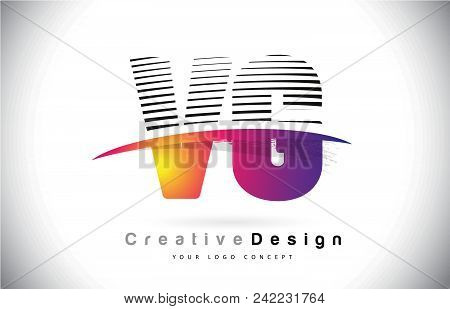 Vg V G Letter Logo Design With Creative Lines And Swosh In Purple Brush Color Vector Illustration.