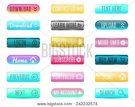 Collection Of Web Buttons, Vector Templates, Banners And Labels, Media. Ribbons Icons For Website Or