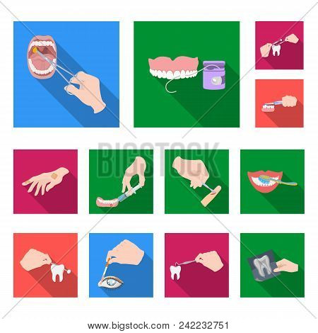 Manipulation By Hands Flat Icons In Set Collection For Design. Hand Movement In Medicine Vector Symb