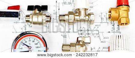 Engineering Concept Project Of Heating For House. Thermostatic Valve, Copper Fitting, Heating Valve