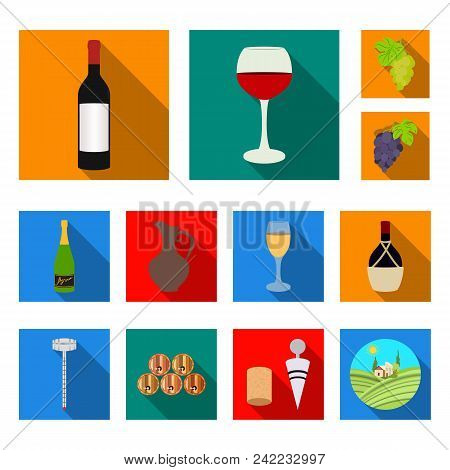 Wine Products Flat Icons In Set Collection For Design. Equipment And Production Of Wine Vector Symbo