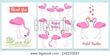 Flamingo Or Tropical Birds Illustration For Party Card. Summer Exotic Background. Vintage Cute Banne