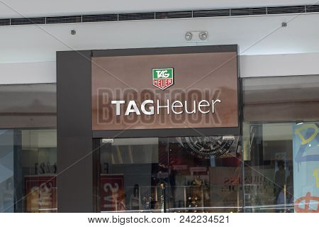 Philippines, 22 March 2018 - Tag Heuer Brand Name On Store Entrance In Shopping Mall. Expensive Watc