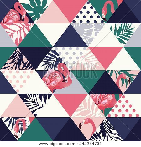 Exotic Beach Trendy Seamless Pattern, Patchwork Illustrated Floral Vector Tropical Banana Leaves. Ju