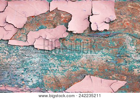 Peeling Paint, Texture Background Of Pink Peeling Paint On The Wooden Texture Surface, Flaked Paint