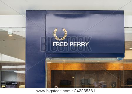 Manila, Philippines, 22 March 2018 - Fred Perry Brand Name On Storefront In Sm Mall Of Asia Shopping