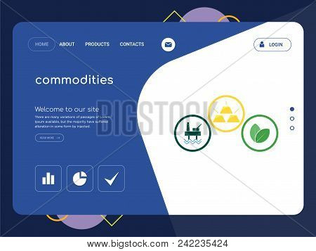 Quality One Page Commodities Website Template Vector Eps, Modern Web Design With Flat Ui Elements An