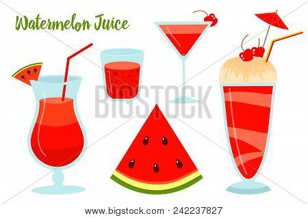 Watermelon Summer Juice Or Smoothies. Vegetarian Organic Drink For Diet And Health. Red Tropical Coc