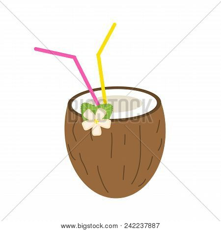 Coconut Summer Juice Or Smoothies With Straws. Vegetarian Organic Drink For Diet And Health. Red Tro
