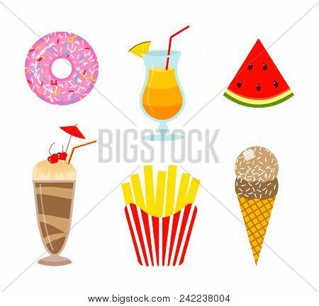 Summer Food. Donut And Orange Drink Or Lemonade, Watermelon And Ice Cream, Milkshake And French Frie