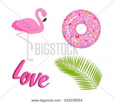 Summer Icons. Flamingo And Tropical Palm. Fun Sticker For Girl, Fashion Cute Patch, Badge, Pin. Coll