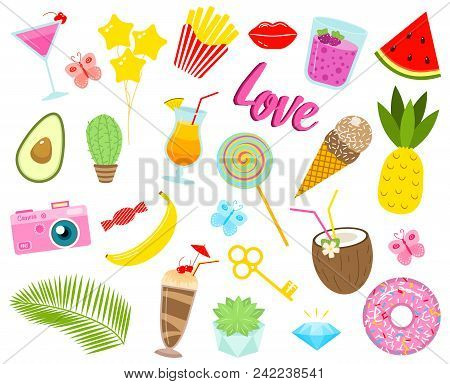 Set Of Girls Fashion Cute Patches, Fun Stickers, Badges, Pins And Stickers. Collection Different Ele