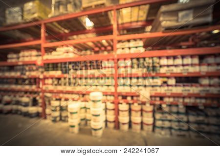 Abstract Blurred Interior, Exterior Paint At Large Hardware Store In Usa