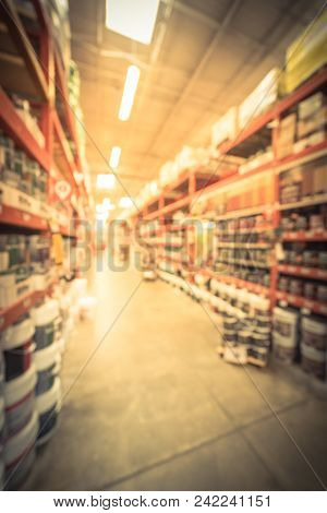 Vintage Blurred Interior, Exterior Paint At Large Hardware Store In Usa