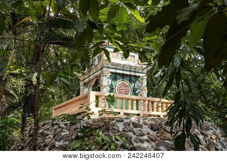 Wat Damnak Pagoda In Siem Reap, Cambodia. Traditional Buddhist Pagoda Architecture In Green Trees. C