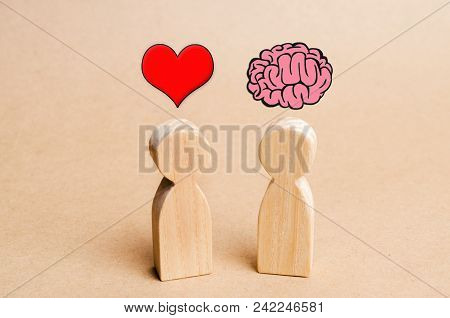 Heart Vs Mind Or Brain. Concept Of Mind Against Love. Balance Between Irrational Love And Reason. Fa