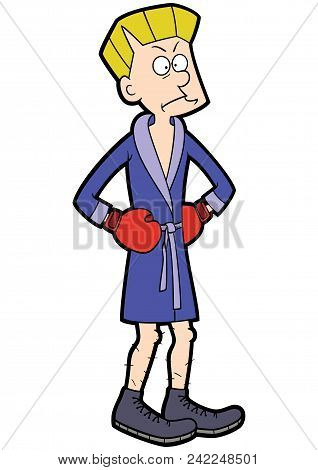 Illustration Cartoon Skinny Fighter Wearing Blue Boxing Robe And Red Gloves