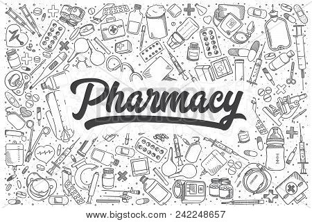 Hand Drawn Pharmacy Doodle Set. Lettering - Pharmacy