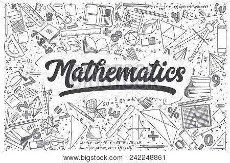 Hand Drawn Mathematics Doodle Set. Lettering - Mathematics