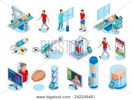 Medicine Of The Future Isometric Icons Collection Of Isolated Images With Medical Equipment Of Next
