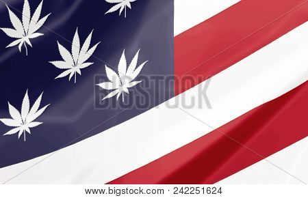 Close Up, On The National Flag Of United States With Marijuana Leafs As Stars, Closeup Illustration.