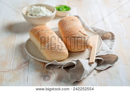 Spring Sandwich With Creamy Cheese, Chive And Lettuce