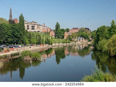 Shrewsbury, Uk - May 19, 2018: Skyline Of Town Of Shrewsbury In Shropshire Above The River Severn