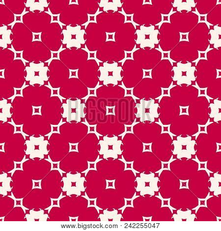 Red And Beige Seamless Pattern With Floral Shapes, Mosaic Tiles. Elegant Geometric Ornament, Abstrac