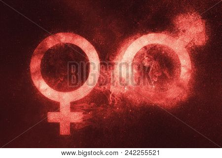 Male And Female Sign, Male And Female Symbol. Abstract Night Sky Background