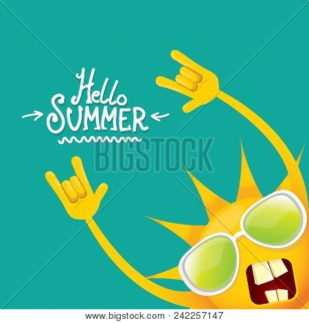 Hello Summer Funky Rock N Roll Vector Label Isolated On Azure. Summer Party Background With Funky Su