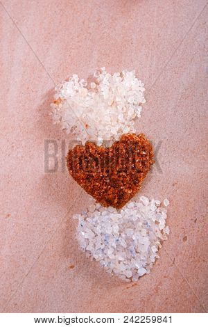 different type of salt in heart shapes , Himalayan Pink Crystal Rock salt,