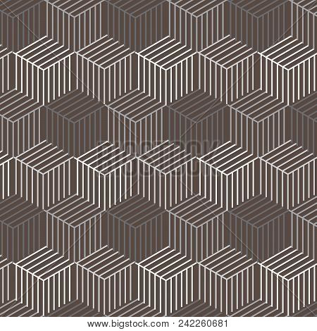 Dark Brown Cubic Shape With Silver Shade Line Inside Pattern Background Vector Illustration Image