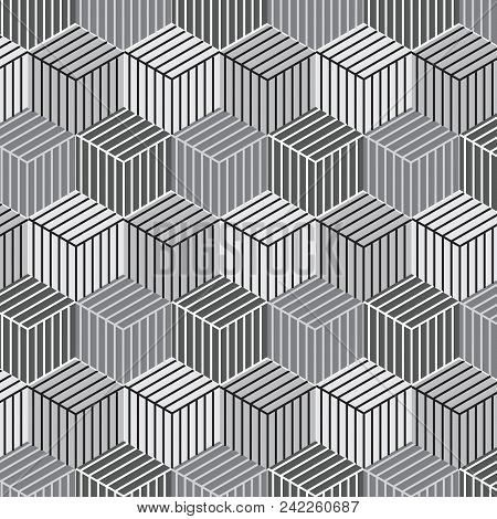 Silver Shade Cubic Shape With Line Inside Pattern Background Vector Illustration Image