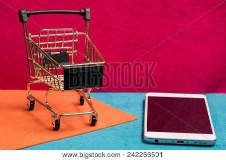Traditional Wire Mesh Shopping Trolley Of Online Or Internet Shopping And Ecommerce