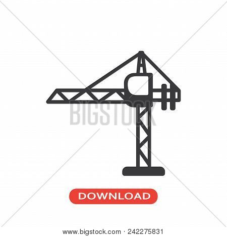 Tower Crane Vector Icon Flat Style Illustration For Web, Mobile, Logo, Application And Graphic Desig
