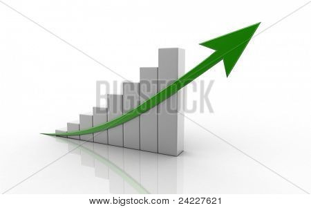 Digital illustration of business graph in white background