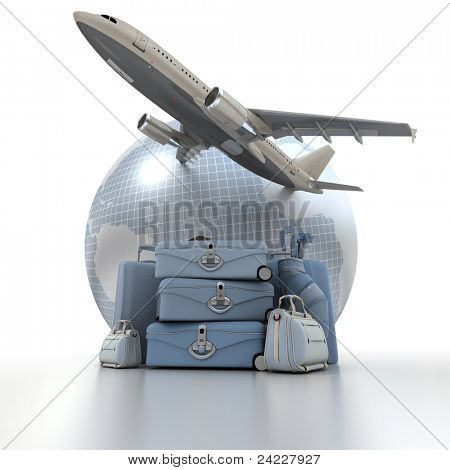 A flying plane, the Earth and a pile of luxurious luggage rendered in blue shades
