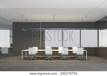 Black And White Office Interior With A Conference Room With A Poster Gallery On The Wall. Glass Wall