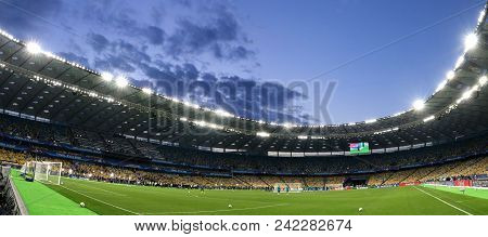 Kyiv, Ukraine - May 25, 2018: Panoramic View Of Nsc Olimpiyskiy Stadium In Kyiv During Real Madrid T